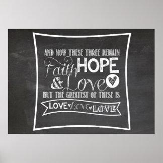 1 Corinthiansの13:13 -黒板ポスター ポスター