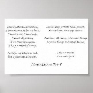 1 Corinthiansの13:4 - 8 ポスター