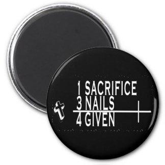 1SACRIFICE + 3人のネイル= 4GIVENクリスチャンイエス・キリスト マグネット