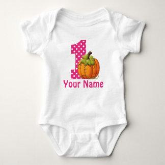 1st Birthday Girl Pumpkin ベビーボディスーツ