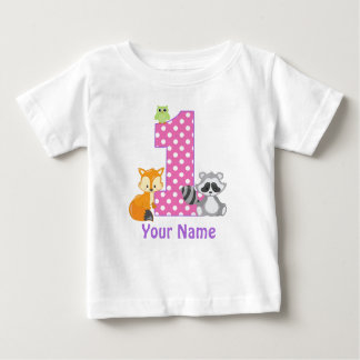 1st Birthday Woodland Personalized T-shirt ベビーTシャツ