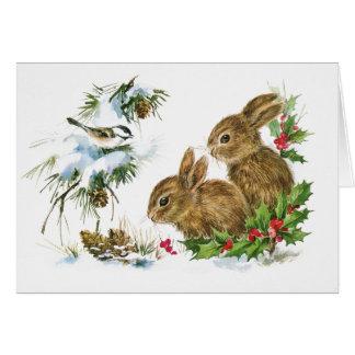 2つのかわいいバニーのクリスマス カード