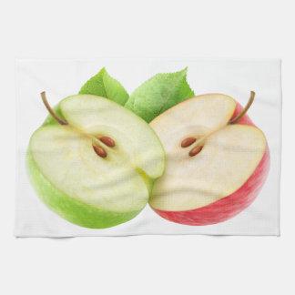 2つのりんごの半分 キッチンタオル