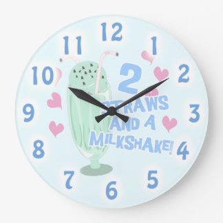 2つのわらおよびミルクセーキ! ラージ壁時計