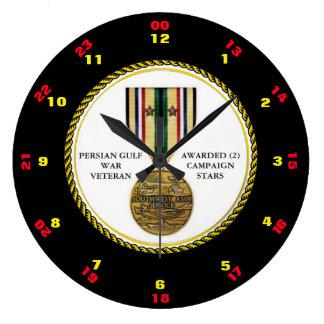 2つのキャンペーン星の湾岸戦争の退役軍人 ラージ壁時計