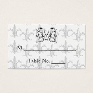 2つのタキシードの新郎の陽気な結婚式の座席表 名刺