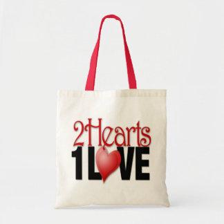 2つのハート1つの愛-予算のトート トートバッグ