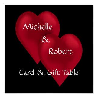 2つのハート1枚の愛結婚祝いのテーブルポスター ポスター