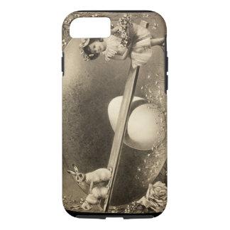2つのバニーの箱が付いているセピア色のイースター写真 iPhone 8/7ケース