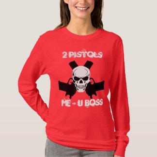 2つのピストル私及びUのボスの長袖 Tシャツ