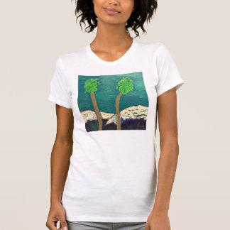 2つのヤシの木およびSnowy山のワイシャツ Tシャツ