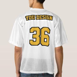 2つの側面の金ゴールドの白黒メンズフットボールジャージー メンズフットボールジャージー