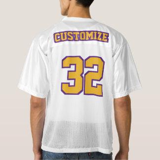 2つの側面の金ゴールド紫色の白いメンズフットボールジャージー メンズフットボールジャージー