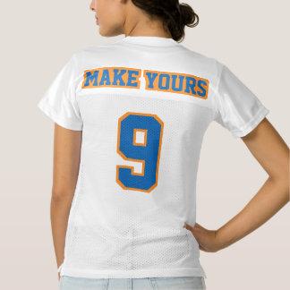2つの側面の青いオレンジ白いレディースフットボールジャージー レディースフットボールジャージー