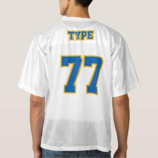 2つの側面の青い金ゴールド白いメンズフットボールジャージー メンズフットボールジャージー