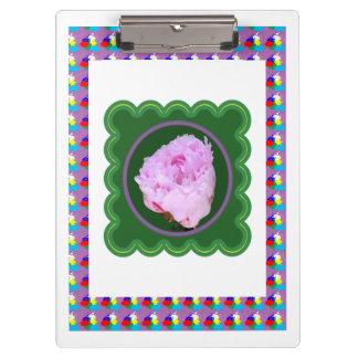 2つの側面はアクリルの用箋挟Pinのばら色の花を印刷しました