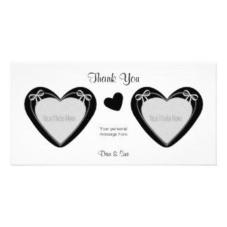 - 2つの写真-白の黒いハートありがとう カード