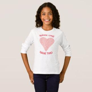 2つの名前の3Dハートのワイシャツ Tシャツ