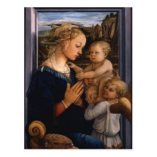 2つの天使のフィリッポLippi-マドンナおよび子供 ポストカード