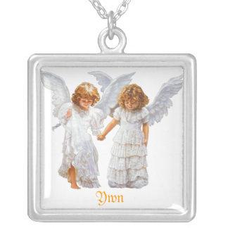 2つの天使-ネックレス シルバープレートネックレス