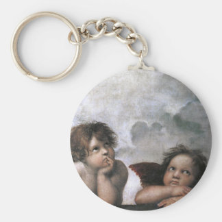 2つの天使、Raphaelのヴィンテージのファインアート キーホルダー
