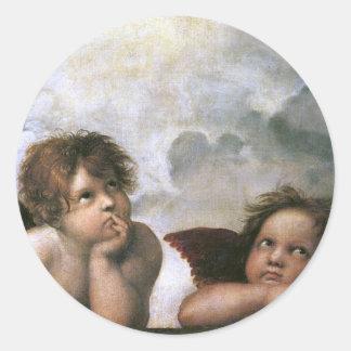 2つの天使、Raphaelのヴィンテージのファインアート ラウンドシール