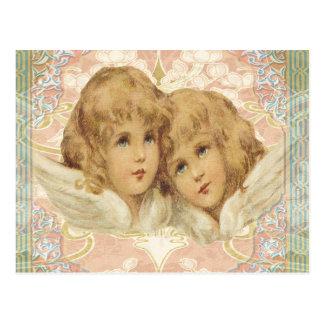 2つの小さいヴィンテージの天使 はがき