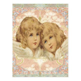 2つの小さいヴィンテージの天使 ポストカード