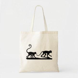 2つの猿のシルエットのバッグ トートバッグ