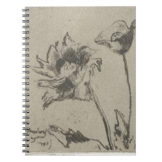 2つの花-フランス語Ren. ノートブック