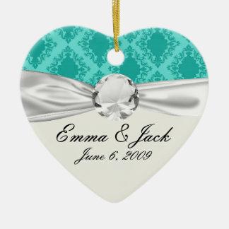 2つの調子のアクアマリン青の水のダイヤモンドのダマスク織 セラミックオーナメント
