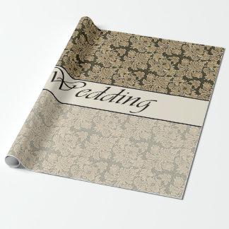 2つの調子のベージュブロケードの包装紙の結婚 ラッピングペーパー
