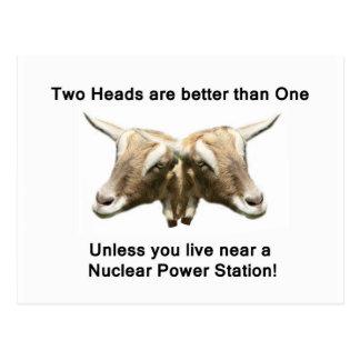 2つの頭部の反核のロゴ ポストカード