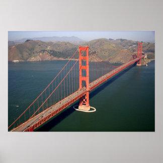 2のゴールデンゲートブリッジの空中写真 ポスター