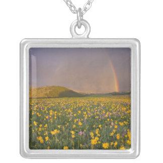 2の日の出の豪華な野生の花草原 シルバープレートネックレス