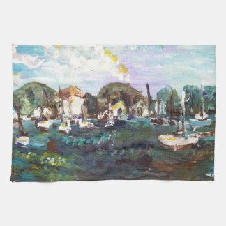 #2を絵を描く置n湾のエリー湖の島 キッチンタオル