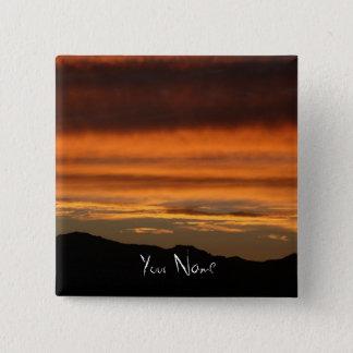 2インチオレンジ日没の正方形ボタンの写真 缶バッジ