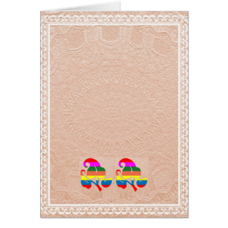 2エンボスの金ゴールドホイルのかわいい宝石の花 カード