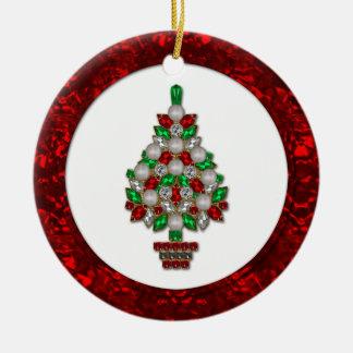 #2オーナメントの赤い緑ののどはクリスマスツリーを宝石で飾ります セラミックオーナメント