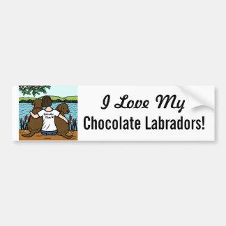 2チョコレートラブラドールおよびお母さん バンパーステッカー