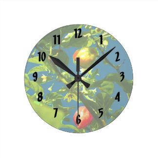 2トウガラシの緑の群葉の青back.jpg ラウンド壁時計