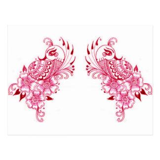 2ピンクのMehndiのHennaの孔雀の芸術 ポストカード