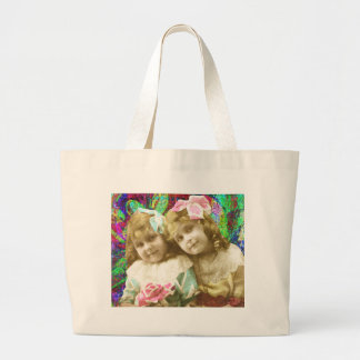 2ヴィンテージの小さな女の子のデジタル芸術 ラージトートバッグ