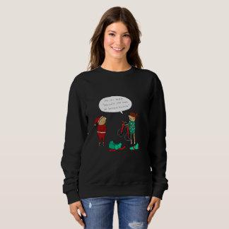 2一輪車|のおもしろいな喜劇的なクリスマスのジャンパー スウェットシャツ