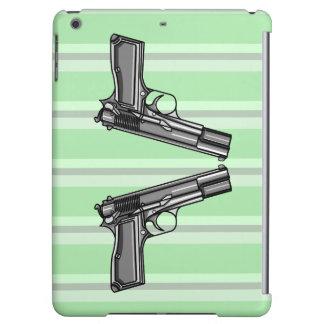 2丁の拳銃の漫画のスタイルの絵 iPad AIRケース