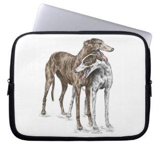 2人のグレイハウンドの友人犬の芸術 ラップトップスリーブ