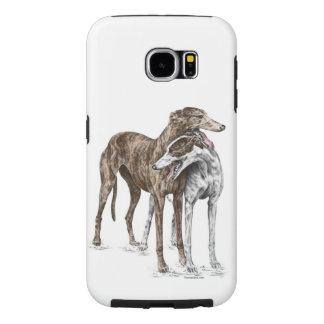2人のグレイハウンドの友人犬の芸術 SAMSUNG GALAXY S6 ケース