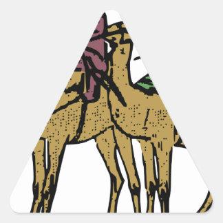 2人のラクダの人 三角形シール