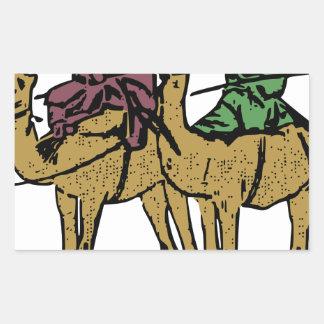 2人のラクダの人 長方形シール