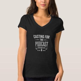 2人の女性のV首のTシャツのために投げること Tシャツ